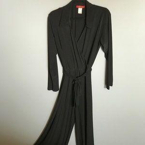 WallStreet - Long Sleev Belted Black Jumpsuit SZXL